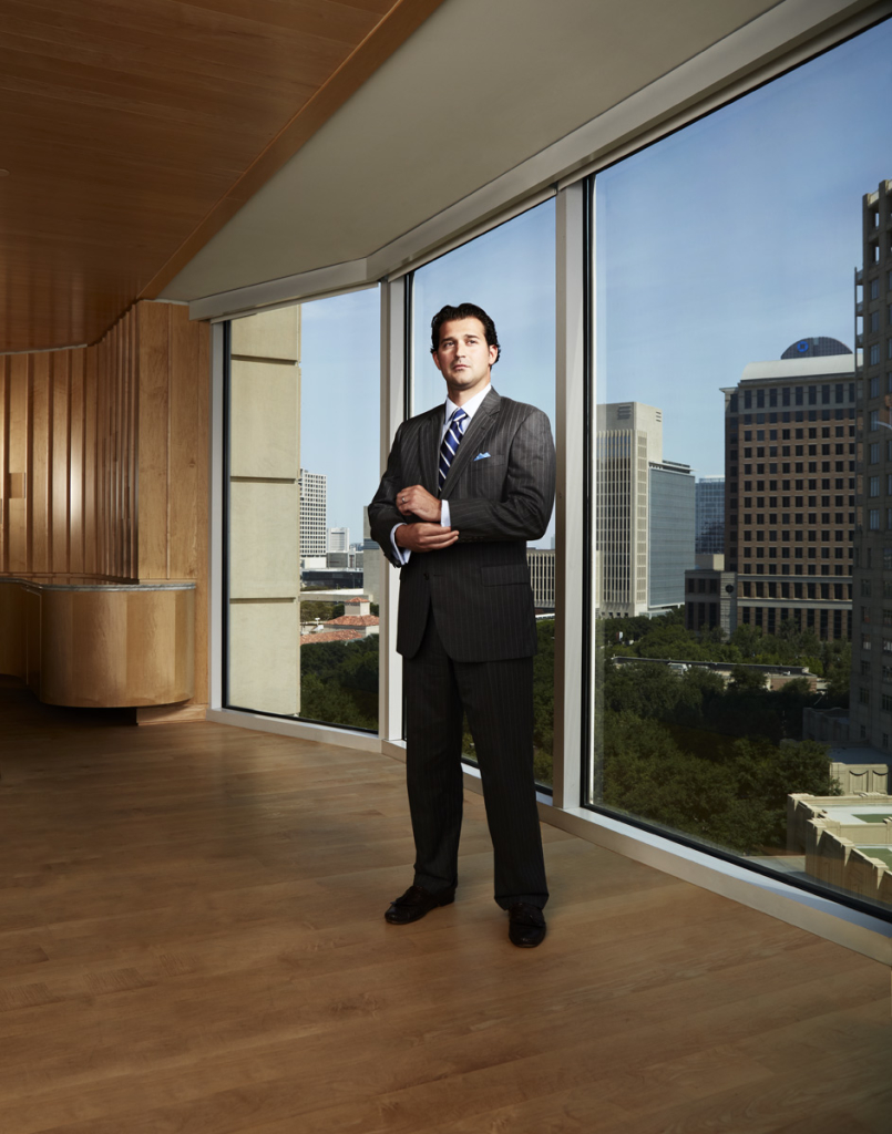 Dramatic on location corporate portrait of executive downtown Dallas Texas